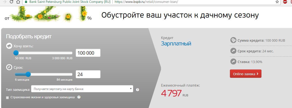 взять кредит наличными в банке санкт-петербург калькулятор
